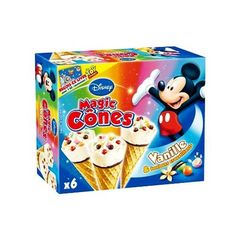 Magic Cones glaces gout vanille et bonbons Mickey DISNEY, 6 unites, 420ml