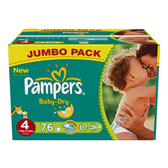 Couches Baby Dry jumbo box PAMPERS, taille 4, 76 unites