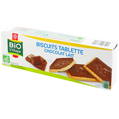 Biscuits tablettes Bio Village Chocolat au lait 150g