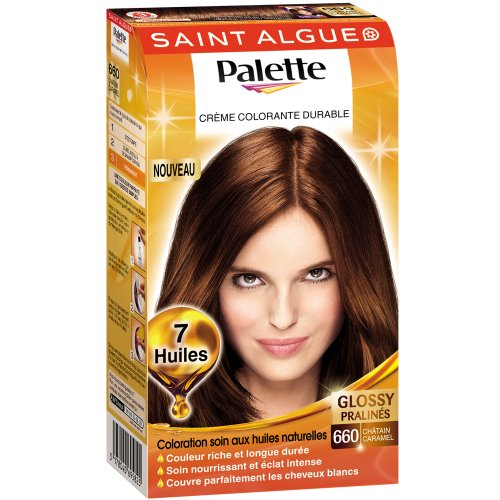 saint algue palette creme colorante durable 7 huiles chatain caramel 660 la boite de 115 ml - Coloration Chatain Caramel