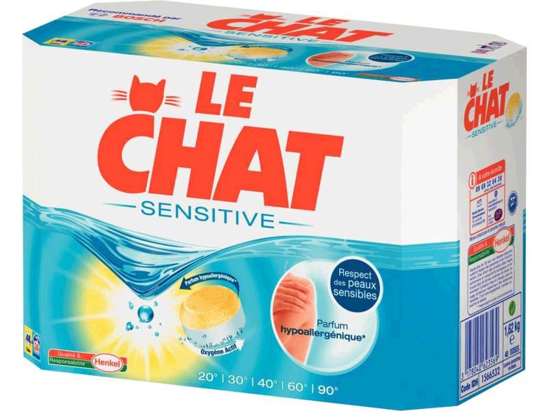 Le Chat, Sensitive - Lessive en tablettes, la boite de 48 - 1,62kg