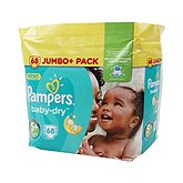 Couches Pampers Baby Dry T5 + - Jumbo pack x68