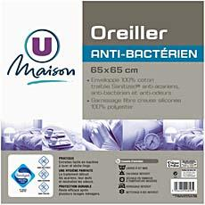 Oreiller traite anti-bacterien sanitized U MAISON, 65x65cm, blanc