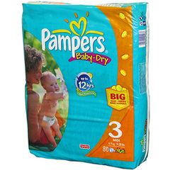 Pampers Baby Dry midi 4/9kg x80 taille 3