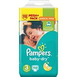 Couches baby dry méga + taille 3 (4-9kg) PAMPERS, 112 unités