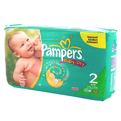 Couches Pampers Baby Dry Mini Geant unisexe, taille 2 (3-6kg), paquet de 43