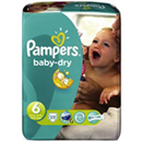 Pampers babydry midpack couches bébé t6 extra large x23