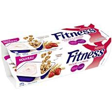 Yaourts fraise sucres avec cereales nature FITNESS, 0,7%MG, 4x120g