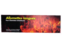 Allumettes longues pour cheminees & barbecues