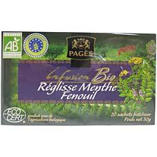 Infusion bio reglisse-menthe-fenouil Pages, 20 sachets, 30g