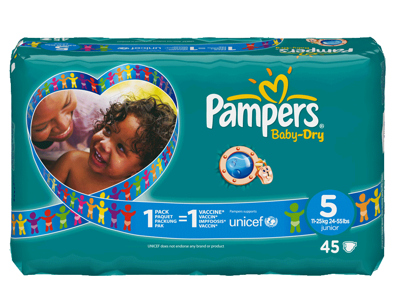 Couches PAMPERS Baby Dry geant junior, taille 5, 11 a 25kg, 45 unites