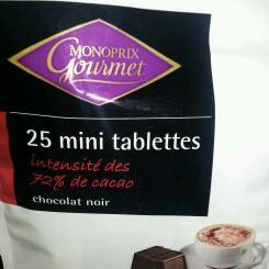 Mini tablettes de chocolat noir, intensité des 72% de cacao