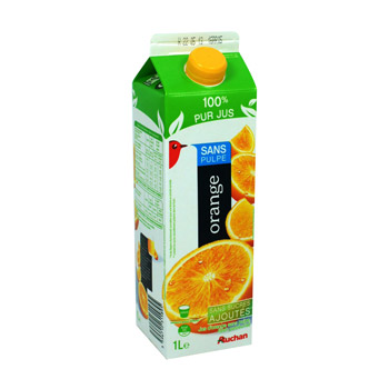 Pur jus d'orange sans pulpe Jus d'orange sans pulpe, flash pasteurise refrigere naturellement riche en vitamine C.