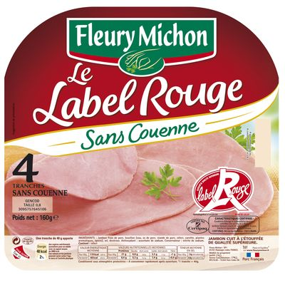 Jambon decouenne Label Rouge FLEURY MICHON, 4 tranches, 160g
