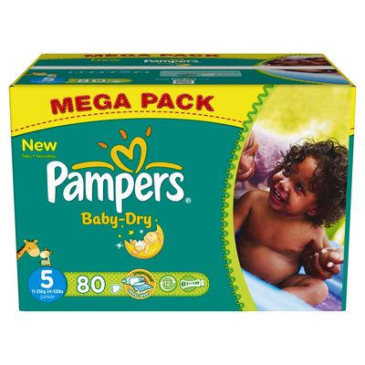 Pampers, Couches baby-dry, taille 5 : 11-25 kg, le carton de 80