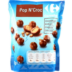 Bonbons chocolat lait fourrage cereales maltees, Pop n'croc