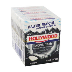 Chewing-gum sans sucre Black Fresh HOLLYWOOD, 5x10 dragees, 72g