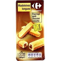Madeleines longues fourrage gout chocolat