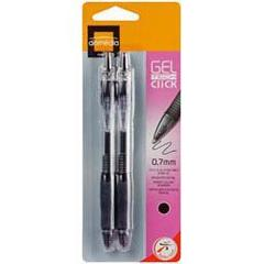 Domedia Creative, Stylo bille retractable Gel Tech Click 0,7mm - noir, les 2 stylos