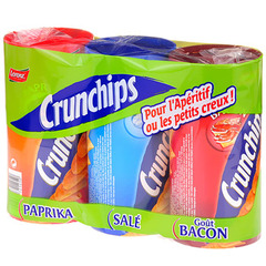 Crunchips paprika, salee, bacon 3x50g