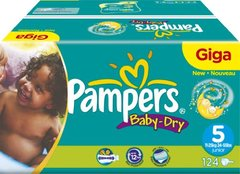 Pampers - 81263020 - Baby Dry Couches - Taille 5 Junior (11-25 kg) Gigapack x124
