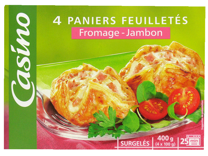 Paniers feuilletes jambon fromage