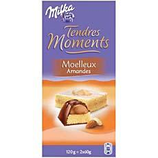 Chocolat fourre moelleux amandes Tendres Moments MILKA, 2x60g