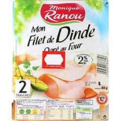 Fin Plaisir, filet de dinde dore au four, traite en salaison, qualite choix, x2 tranches, le paquet,80g