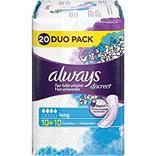Serviettes pour incontinence long ALWAYS, duo pack, 20 unités