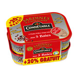 sardines a l'ancienne a l'huiles d'olive vierge extra aux 5 baies connetable 2x115g