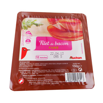 Auchan filet de bacon fume x12 -150g
