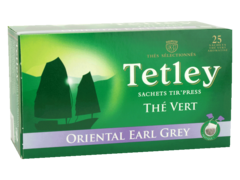 Tetley, Oriental earl grey, the vert aromatise, x25 sachets tir'press, la boite, 44g