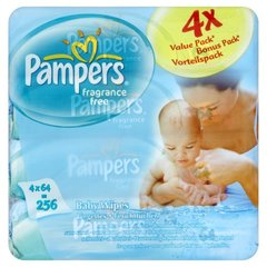 Pampers lingettes non parfumees 4x64