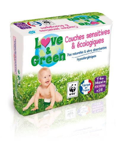 Couches ecologiques LOVE & GREEN taille 4 + , 28 unites