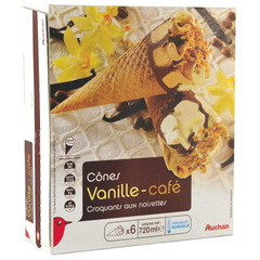 Auchan cones vanille cafe x6 - 720ml