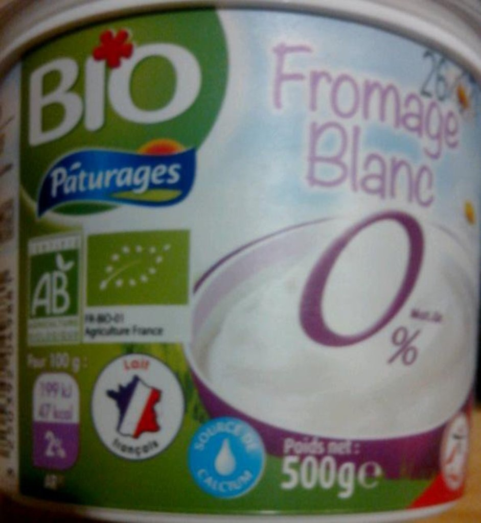 Pâturages, Fromage blanc 0% BIO, le pot de 500 g