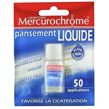 Mercurochrome, Pansement liquide, favorise la cicatrisation, protege la plaie, soulage et resiste a l'eau, x50 applications, le blister
