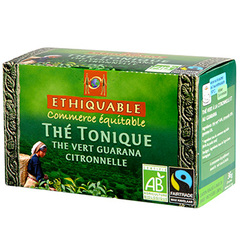 Ethiquable, The tonique, the vert, citronnelle, guarana, x20 sachets, la boite,36g