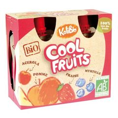 Jus Cool Fruits fraise-myrtille KALIBIO, 4x90g