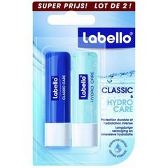 Duo de sticks a levres Classic et Hydro Care LABELLO, 2x4,8g