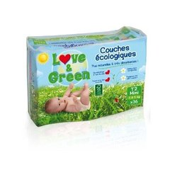 Couches ecologiques LOVE & GREEN, taille 2, 3 a 5 kg, 36 unites