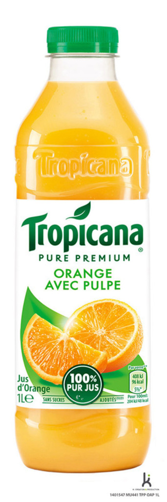 pur jus d'orange avec pulpe tropicana 1l