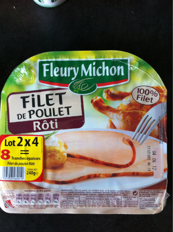 Filet de poulet r?ti FLEURY MICHON, 2x4 tranches, 240g