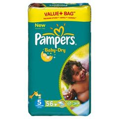 Pampers, Couches baby-dry, taille 5 : 11-25 kg, le paquet de 56