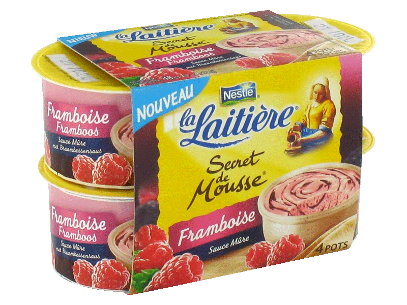La Laitiere secret de mousse framboise 4x12cl