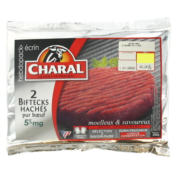 Steak hache 5% de MG CHARAL, 2x130g