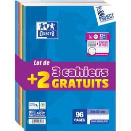 Oxford Cahier agrafe 24x32 96 pages, grands carreaux le lot de 3 + 2