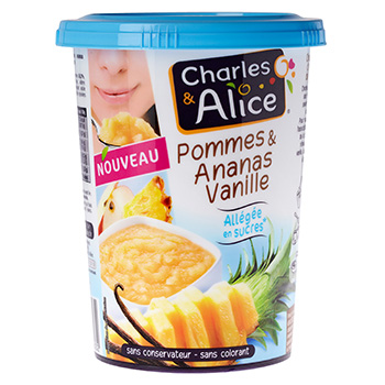 Compote pommes Charles et Alice Allegee ananas vanille 535g