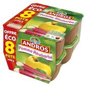 Andros pomme rhubarbe 8x100g offre éco