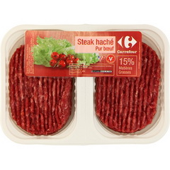 Steak hache pur boeuf, 15% mg